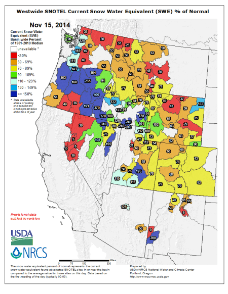 Westwide SNOTEL Current Snow Water Equivalent (SWE) % of Normal
