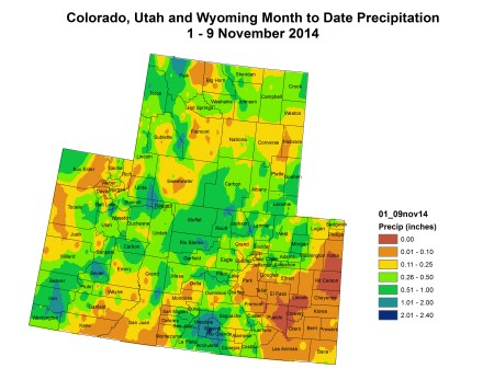 Upper Colorado River Basin November month to date precipitation November 9, 2014