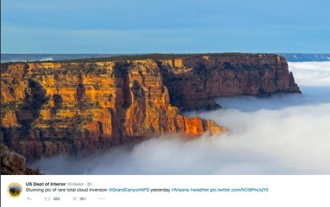 Fog-filled Grand Canyon