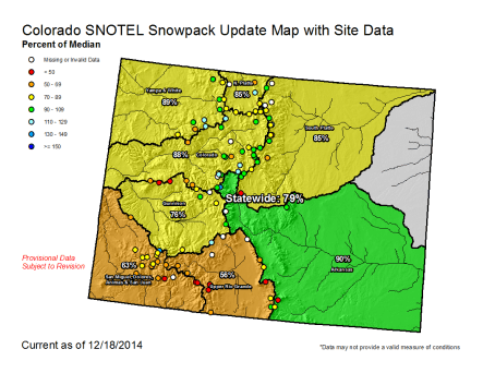 Statewide snowpack December 18, 2014 via the NRCS