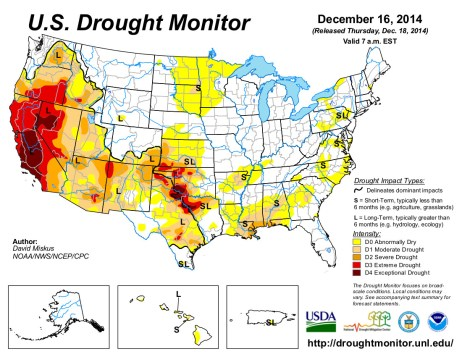US Drought Monitor December 16, 2014