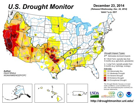 US Drought Monitor December 23, 2014