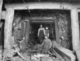 Workers pose for a photo in the Moffat Water Tunnel in this 1930 photo.