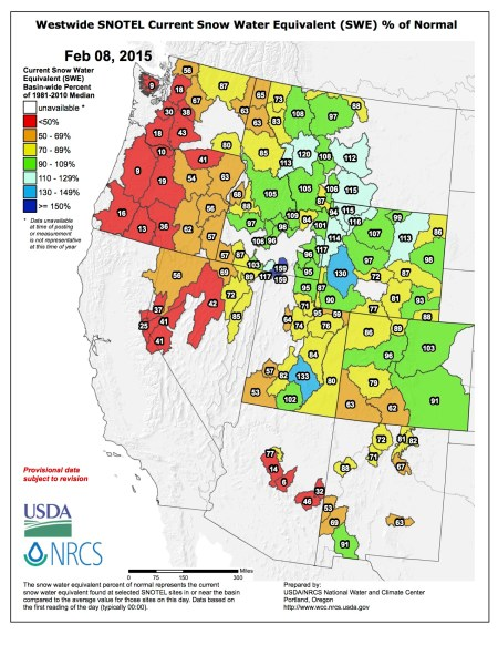 Westwide SNOTEL snow water equivalent as a percent of normal via the NRCS