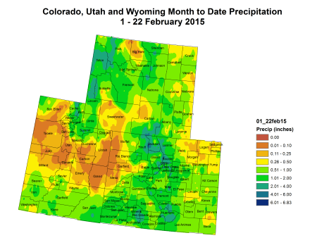 Upper Colorado River Basin February 1 thru 22, 2015 precipitation