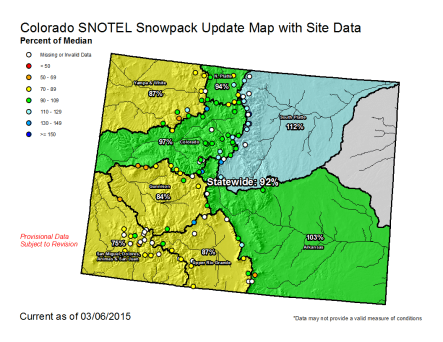Statewide snowpack map March 6, 2015 via the NRCS
