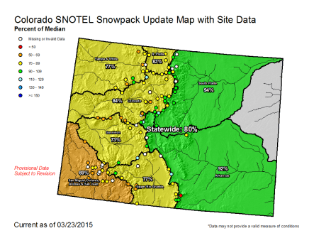 Statewide snowpack map March 23, 2015 via the NRCS