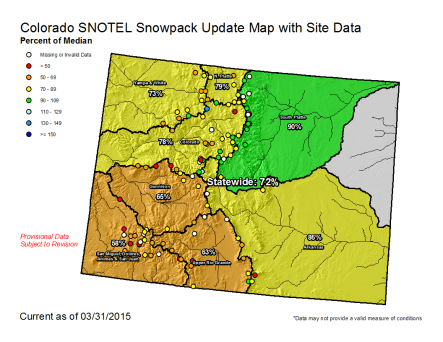 Stotewide snowpack map March 31. 2015 via the NRCS