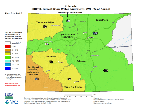 Statewide snow water equivalent as a percent of normal March 2, 2015 via the NRCS