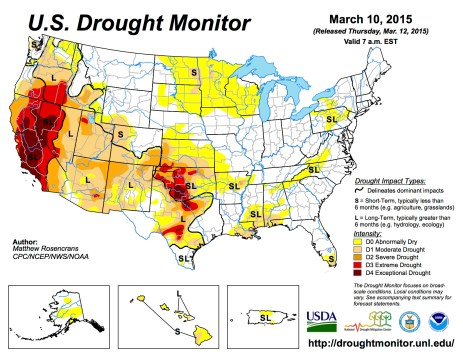 US Drought Monitor March 10, 2015