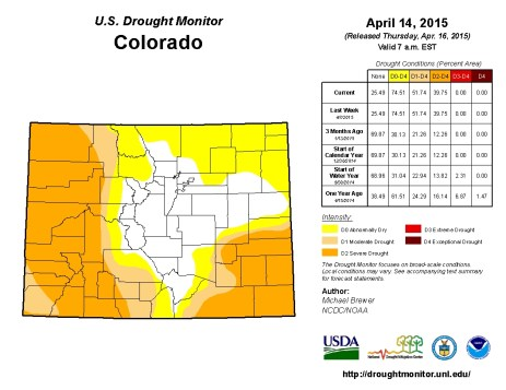 Colorado Drought Monitor April 15, 2015