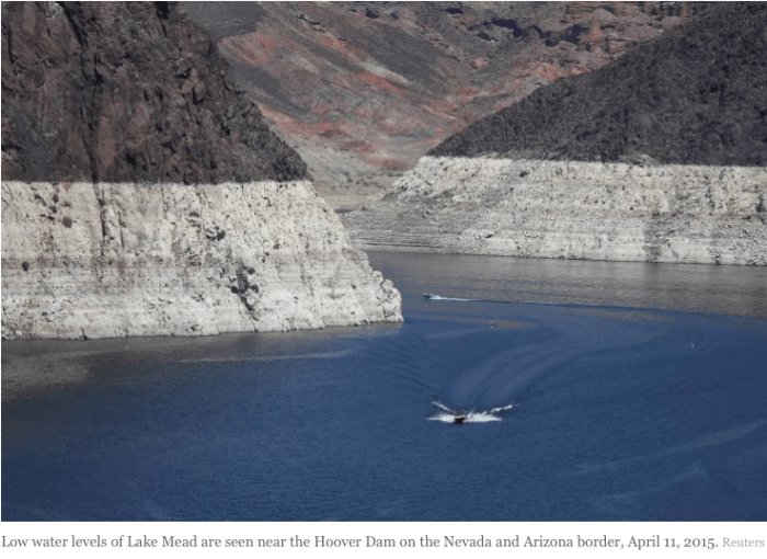 Low water levels of Lake Mead are seen near the Hoover Dam on the Nevada and Arizona border, April 11, 2015. Photo: Reuters