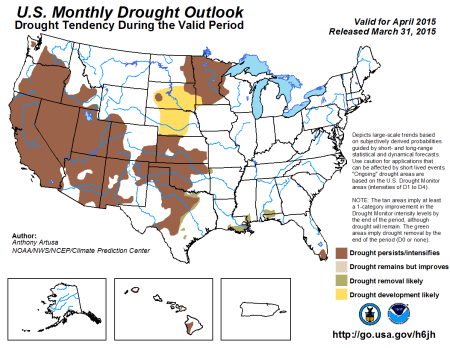 April drought outlook via the Climate Prediction Center