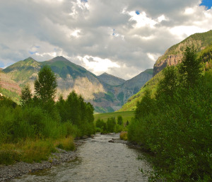 The San Miguel River near its headwaters in Telluride, Colorado. @bberwyn photo.