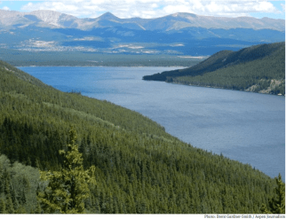 Turrquoise Reservoir, which stores water brought under the Continental Divide from the Eagle, Fryingpan and Roaring Fork river headwaters. Photo credit: Aspen Journalism