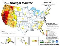 US Drought Monitor July 7, 2015