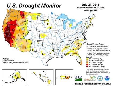 US Drought Monitor July 21, 2015
