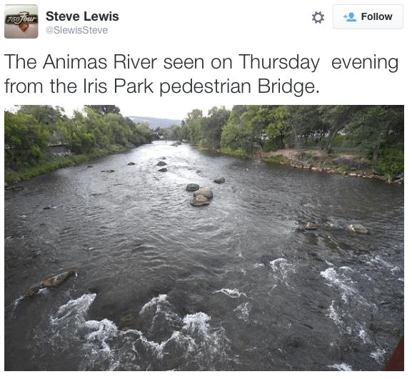 Animas River at Durango photo -- Steve Lewis via Twitter