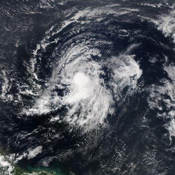 """This image is a """"true color"""" RGB image of Tropical Storm Erika on August 25, 2015 from NOAA's NOAAView Credit: NOAA"""