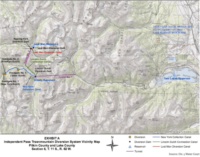 A map of the Independence Pass Transmountain Diversion System, as submitted to Div. 5 Water Court by Twin Lakes Reservoir and Canal Co.
