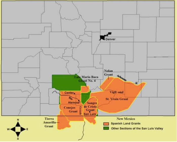 """Fig. 2. Mexican Land Grants in Colorado and New Mexico. The Baumann map depicted here mislabels these Mexican land grants as """"Spanish"""". Source: Paul R. Baumann 2001. SUNY-Oneonta."""