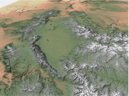 San Luis Valley. In this perspective, S is on top. Costilla County is along the edge of the southeastern side of the Valley between the Sangre de Cristo sub-range known as the Culebra Mountains (on the E) and the Rio Grande (on the W); upper left quadrant within SLV on this map. Source: http://geogdata.scsun.edu.