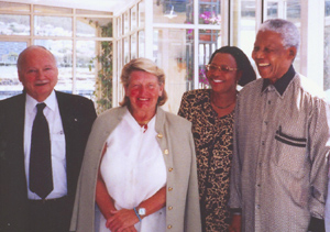 Maurice and Hanne Strong with Graca Marcel and Nelson Mandela