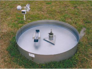 One of the US Class A evaporation pans installed at the King's Park Meteorological Station in Kowloon, Hong Kong.