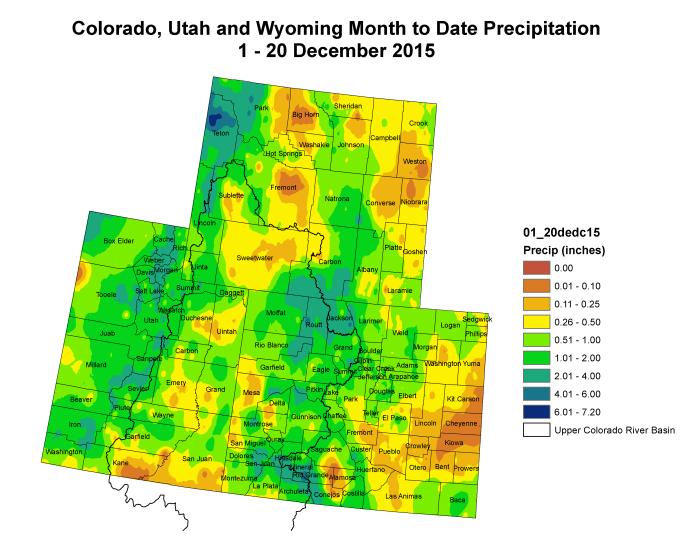 Upper Colorado River Basin  month to data precipitation December 1 through December 20, 2015