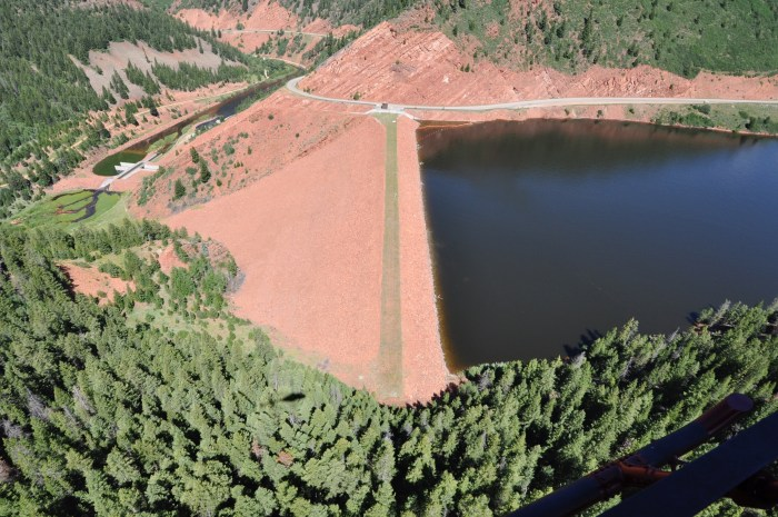 The crest of the dam across the Fryingpan River that forms Ruedi Reservoir, which can hold 102,373 acre-feet of water. Photo courtesy Bureau of Reclamation.
