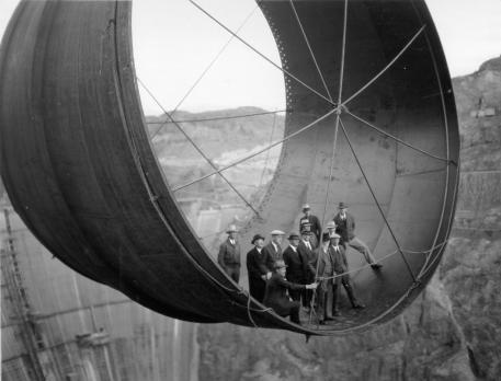 Hoover Dam during construction via Historical Photos.