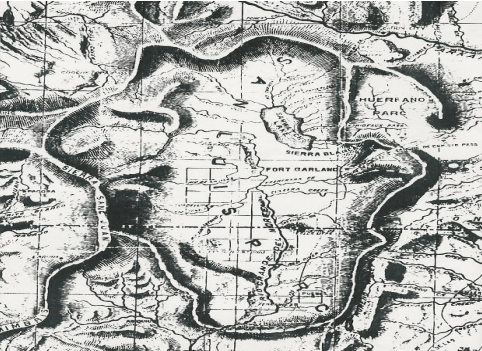 "1869 Map of San Luis Parc of Colorado and Northern New Mexico. ""Sawatch Lake"" at the east of the San Luis Valley is in the closed basin. The Blanca Wetlands are at the south end of the lake."