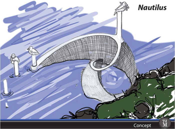 An early design sketch of the Nautilus, one of five in-stream trash removal machines created by MSU Denver students as part of the inaugural Clean River Design Challenge. IMAGE: Courtesy of The Greenway Foundation.