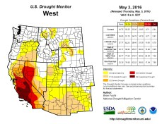 West Drought Monitor May 3, 2016.