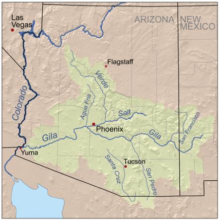 Gila River watershed. Graphic credit: Wikimedia