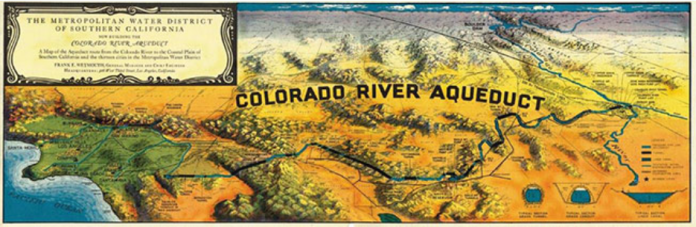 A map of the Aqueduct route from the Colorado River to the Coastal Plain of Southern California and the thirteen cities via the Metropolitan Water District of Southern California.