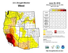 West Drought Monitor June 28, 2016.