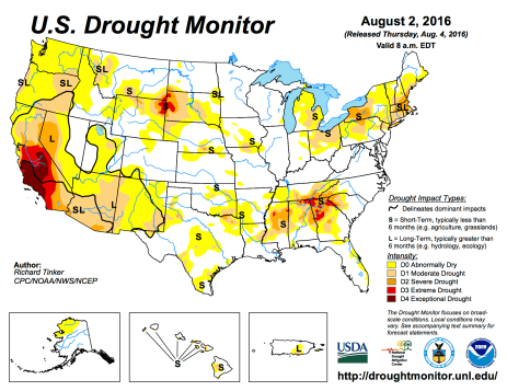 US Drought Monitor August 2, 2016.