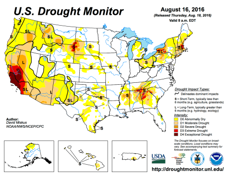 US Drought Monitor August 16, 2016.