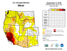 West Drought Monitor August 6, 2016.