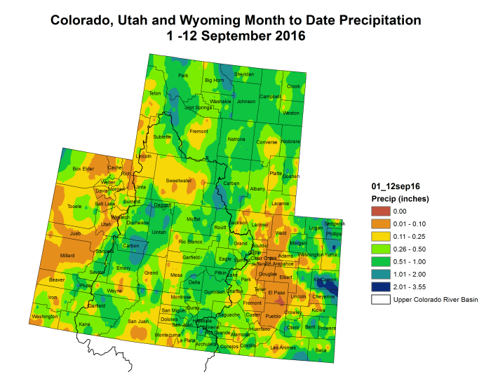 Upper Colorado River Basin month to date precipitation through September 12, 2016 via the Colorado Climate Center.