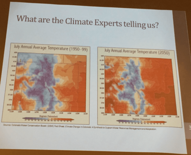 Colorado average temperature July 1950 through 1999 with projected July temperatures 2050, slide via Julie Traylor, South Platte Forum, October 27, 2016.