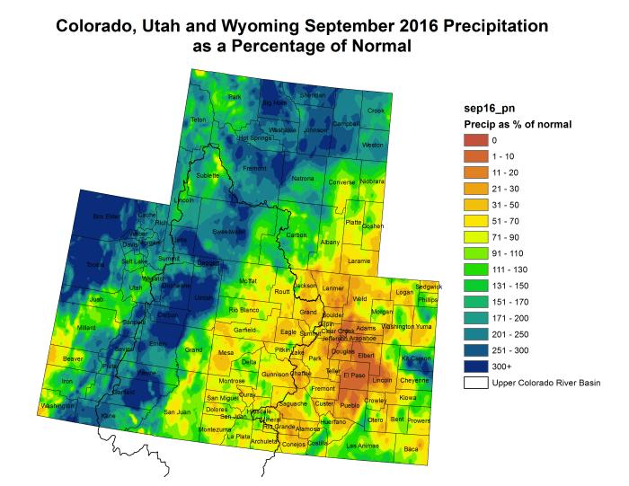 Upper Colorado River Basin September 2016 precipitation as a percent of normal via the Colorado Climate Center.