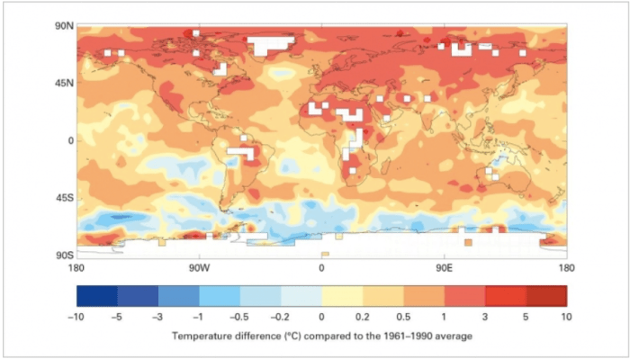 How temperatures in the five-year period from 2011-2015 compared to the long-term average. Credit: WMO via Climate Central.