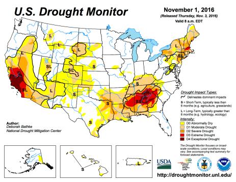 US Drought Monitor November 1, 2016.