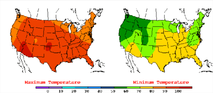 The United States has experienced unusual warmth lately, as indicated by this July 22, 2016, weather map showing much of the country facing highs in the 90s and 100s and lows in the 70s. New research indicates that more record high temperatures may be in store. (Weather map by the National Oceanic and Atmospheric Administration's Weather Prediction Center.) via The Mountain Town News.