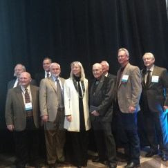 Travis Smith and past Aspinall Award Recipients at the 2017 Aspinall Award Luncheon. L to R: David Robbins; Harold Miskel, Eric wilkinson; Ray Kogovsek; Gale Norton; Lewis Entz; Don Ament, Travis Smith; Hank Brown. Photo credit Greg Hobbs.
