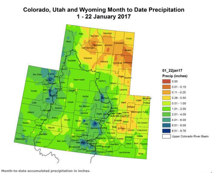 Upper Colorado River Basin month to date precipitation through January 22, 2017 via the Colorado Climate Center.
