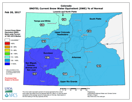 Statewide basin-filled snowpack map February 20, 2017 via the NRCS.