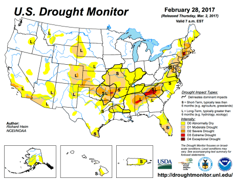 US Drought Monitor February 28, 2017.